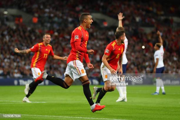 Rodrigo Moreno of Spain celebrates after scoring his team's second goal during the UEFA Nations League A group four match between England and Spain...