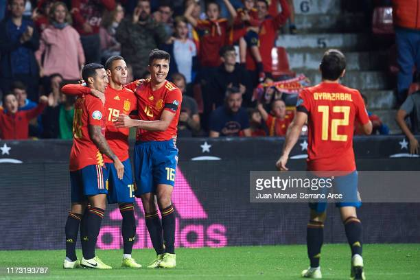 Rodrigo Moreno of Spain celebrates after scoring the second goal for Spain during the UEFA Euro 2020 qualifier match between Spain and Faroe Islands...