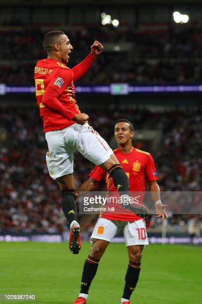 Rodrigo Moreno of Spain celebrates with teammate Thiago Alcantara after scoring his team's second goal during the UEFA Nations League A group four...