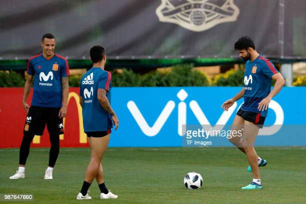 Rodrigo Moreno of Spain looks on and Diego Costa of Spain controls the ball during a training session on June 27 2018 in Krasnodar Russia