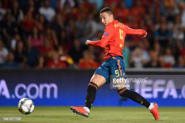 Rodrigo Moreno of Spain scores his team's fourth goal during the UEFA Nations League A Group four match between Spain and Croatia at Estadio Manuel...