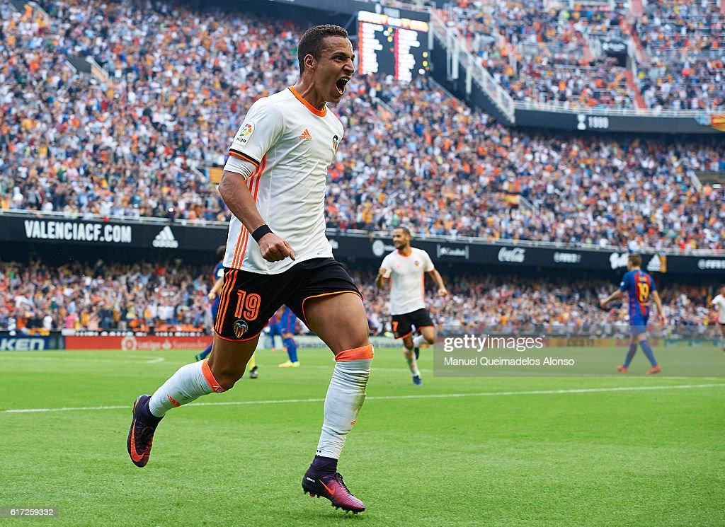 Rodrigo Moreno of Valencia celebrates after scoring his team's second goal during the La Liga match between Valencia CF and FC Barcelona at Mestalla Stadium on October 22, 2016 in Valencia, Spain.