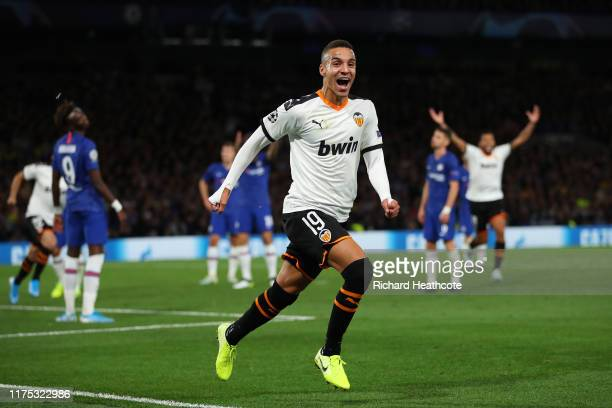 Rodrigo Moreno of Valencia celebrates as he scores his team's first goal during the UEFA Champions League group H match between Chelsea FC and...