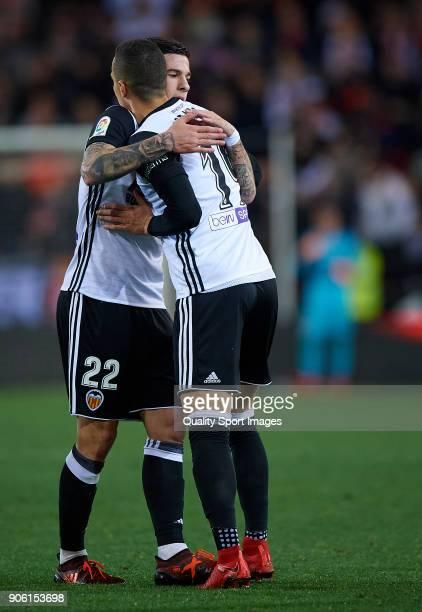 Rodrigo Moreno of Valencia celebrates with Santi Mina after scoring a goal during the Copa Del Rey 1st leg match between Valencia and Alaves at...