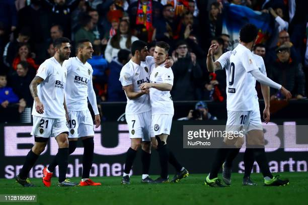 Rodrigo Moreno of Valencia CF celebrate after scoring the 10 goal with his teammate During Spanish King La Copa match between Valencia cf vs Real...