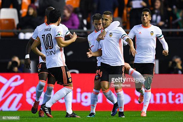Rodrigo Moreno of Valencia CF celebrates after scoring his team's first goal during the La Liga match between Valencia CF and Malaga CF at Mestalla...