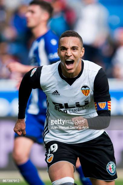 Rodrigo Moreno of Valencia CF celebrates after scoring his team's second goal during the La Liga match between Deportivo Alaves and Valencia CF at...