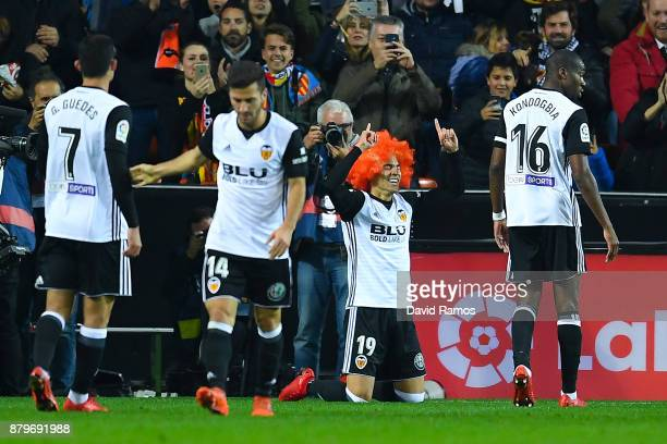 Rodrigo Moreno of Valencia CF celebrates after scoring his team's first goal during the La Liga match between Valencia and Barcelona at Mestalla...