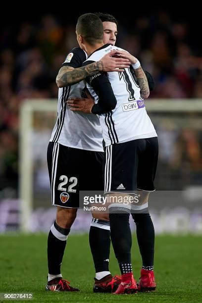 Rodrigo Moreno of Valencia CF celebrates after scoring with his teammate Santi Mina during the Copa del Rey quarterfinal first leg game between...