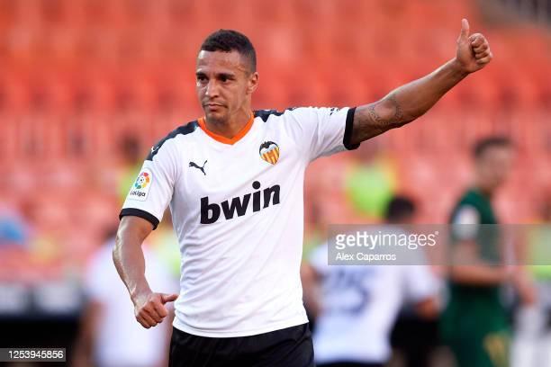 Rodrigo Moreno of Valencia CF gives his thumb up during the Liga match between Valencia CF and Athletic Club at Estadio Mestalla on July 01, 2020 in...