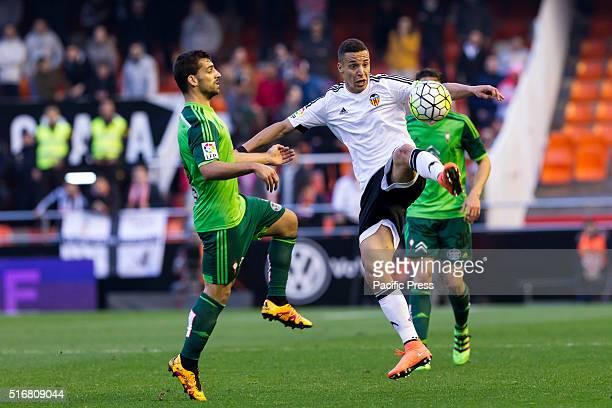 Rodrigo Moreno of Valencia CF in action during the La Liga match between Valencia CF and Celta de Vigo at Mestalla Stadium Celta Vigo beats Valencia...