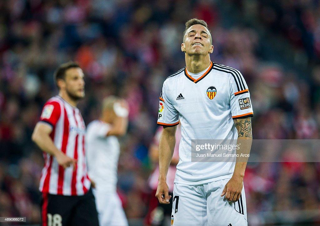 Rodrigo Moreno of Valencia CF reacts during the La Liga match between Athletic Club Bilbao and Valencia CF at San Mames Stadium on April 9, 2015 in Bilbao, Spain.