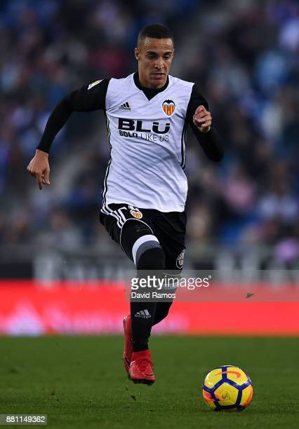 Rodrigo Moreno of Valencia CF runs with the ball during the La Liga match between Espanyol and Valencia at Cornella El Prat stadium on November 19...