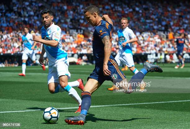 Rodrigo Moreno of Valencia in action during the La Liga match between Valencia and Deportivo La Coruna at Mestalla Stadium on May 20 2018 in Valencia...