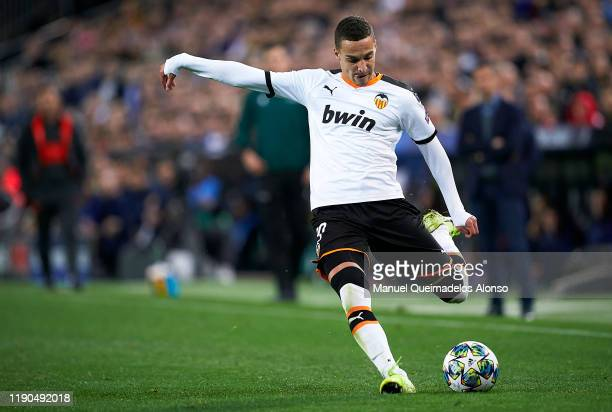 Rodrigo Moreno of Valencia in action during the UEFA Champions League group H match between Valencia CF and Chelsea FC at Estadio Mestalla on...