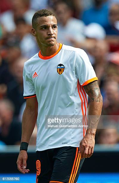 Rodrigo Moreno of Valencia reacts during the La Liga match between Valencia CF and Atletico de Madrid at Mestalla Stadium on October 02 2016 in...