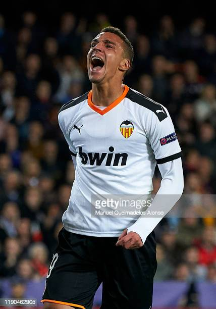 Rodrigo Moreno of Valencia reacts during the UEFA Champions League group H match between Valencia CF and Chelsea FC at Estadio Mestalla on November...