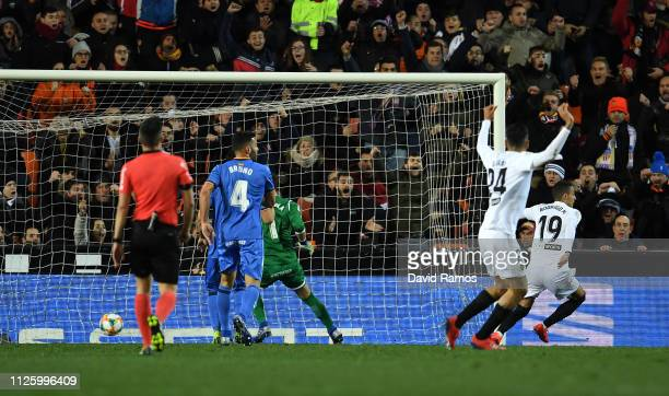 Rodrigo Moreno of Valencia scores his side's second goal during the Copa del Rey Quarter Final match between Valencia and Getafe at Estadio Mestalla...