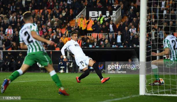 Rodrigo Moreno of Valencia scores to make it 1-0 during the Copa del Rey Semi Final match second leg between Valencia and Real Betis at Estadio...