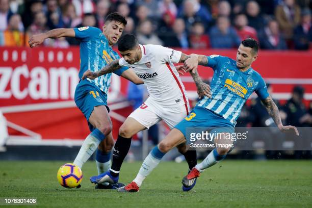 Rodrigo of Atletico Madrid Ever Banega of Sevilla FC Vitolo of Atletico Madrid during the La Liga Santander match between Sevilla v Atletico Madrid...