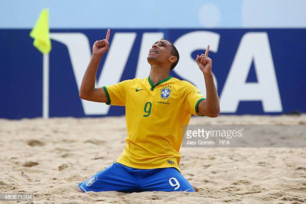 Rodrigo of Brazil celebrates a goal during the FIFA Beach Soccer World Cup Portugal 2015 Group C match between Brazil and Spain at Espinho Stadium on...