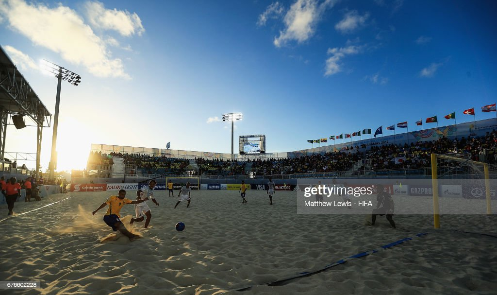 Rodrigo of Brazil takes a shot on goal during the FIFA Beach Soccer World Cup Bahamas 2017 group D match between Braziland Japan at the National Beach Soccer Arena at Malcolm Park on May 2, 2017 in Nassau, Bahamas