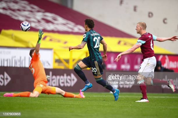 Rodrigo of Leeds United scores a goal to make it 0-3 during the Premier League match between Burnley and Leeds United at Turf Moor on May 15, 2021 in...