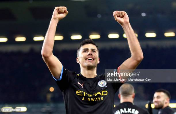 Rodrigo of Manchester City celebrates after scoring his team's third goal during the Premier League match between Burnley FC and Manchester City at...