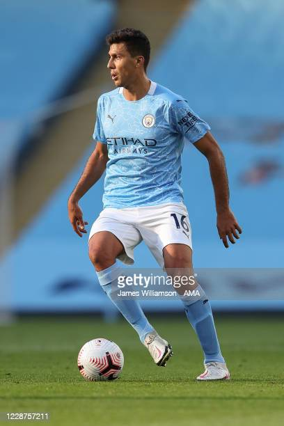 Rodrigo of Manchester City during the Premier League match between Manchester City and Leicester City at Etihad Stadium on September 27 2020 in...