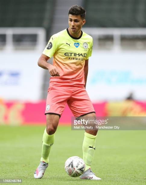 Rodrigo of Manchester City in action during the FA Cup Quarter Final match between Newcastle United and Manchester City at St James Park on June 28...