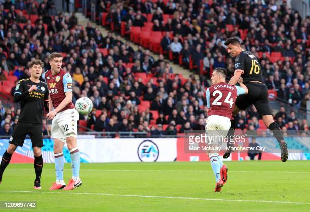 Rodrigo of Manchester City scores his sides second goal during the Carabao Cup Final between Aston Villa and Manchester City at Wembley Stadium on...