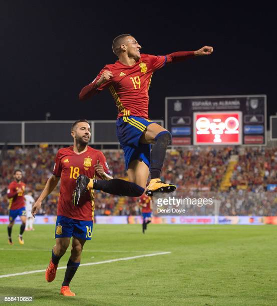 Rodrigo of Spain celebrates after scoring Spain opening goal during the FIFA 2018 World Cup Qualifier between Spain and Albania at Estadio Jose Rico...