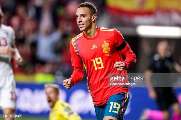 Rodrigo of Spain celebrates goal 1-0 during the EURO Qualifier match between Spain v Faroe Islands at the El Molinon on September 8, 2019 in Gijon...