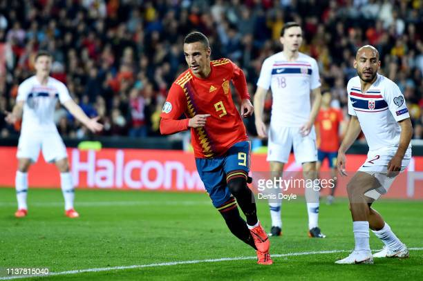 Rodrigo of Spain celebrates scoring his sides first goal during the 2020 UEFA European Championships group F qualifying match between Spain and...