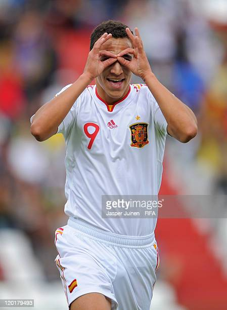 Rodrigo of Spain celebrates scoring his side's opening goal during the FIFA U20 World Cup Colombia 2011 group C match between Costa Rica and Spain at...