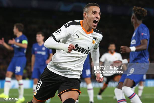 Rodrigo of Valencia celebrates scoring the only goal of the match during the UEFA Champions League group H match between Chelsea FC and Valencia CF...