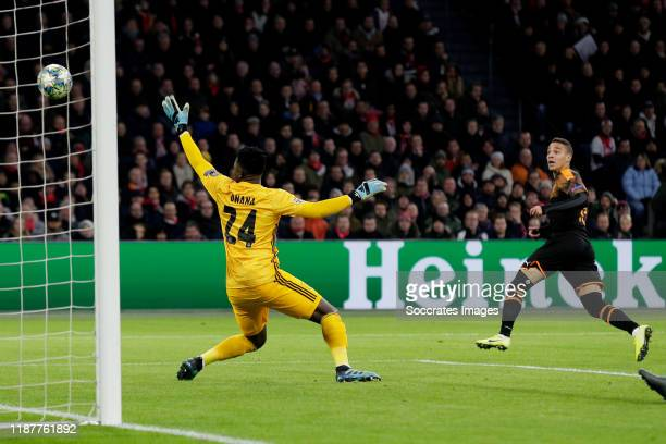 Rodrigo of Valencia scores the first goal to make it 01 during the UEFA Champions League match between Ajax v Valencia at the Johan Cruijff Arena on...