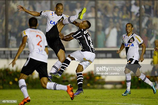 Rodrigo of Vasco battles for the ball with Malcom of Corinthians during the match between Vasco and Corinthians as part of Brasileirao Series A 2015...