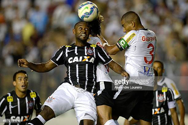 Rodrigo of Vasco battles for the ball with Vagner Love of Corinthians during the match between Vasco and Corinthians as part of Brasileirao Series A...