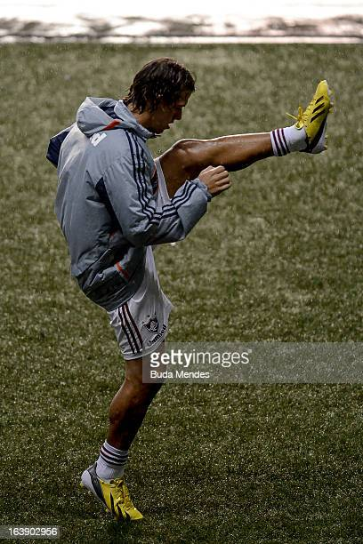Rodrigo Oliveira de Bittencourt of Fluminense warms up during a match between Fluminense and Audax Rio as part of Carioca Championship 2013 at...