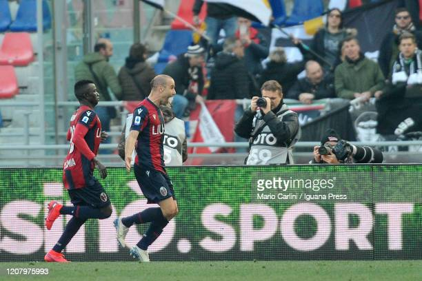 Rodrigo Palacio celebrates after scoring a goal during the Serie A match between Bologna FC and Udinese Calcio at Stadio Renato Dall'Ara on February...