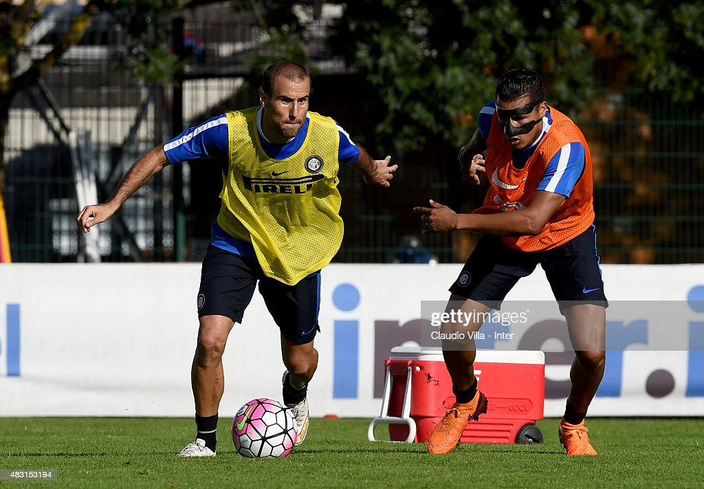 Rodrigo Palacio (L) in action during a FC Internazionale training session on August 6, 2015 in Bruneck, Italy.