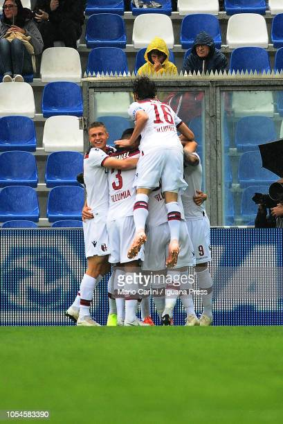 Rodrigo Palacio of Bologna FC celebrates after scoring the opening goal during the Serie A match between US Sassuolo and Bologna FC at Mapei Stadium...