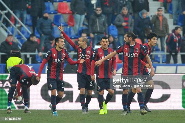 Rodrigo Palacio of Bologna FC celebrates after scoring the opening goal during the Serie A match between Bologna FC and Atalanta BC at Stadio Renato...