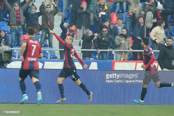 Rodrigo Palacio of Bologna FC celebrates after scoring the opening goal during the Serie A match between Bologna FC and Atalanta BC at Stadio Renato...