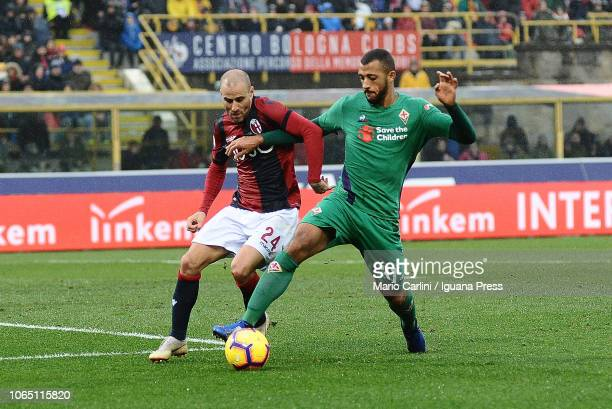 Rodrigo Palacio of Bologna FC competes the ball with Victor Hugo of ACF Fiorentina during the Serie A match between Bologna FC and ACF Fiorentina at...