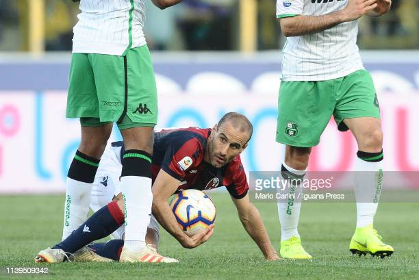 Rodrigo Palacio of Bologna FC looks on during the Serie A match between Bologna FC and US Sassuolo at Stadio Renato Dall'Ara on March 31 2019 in...