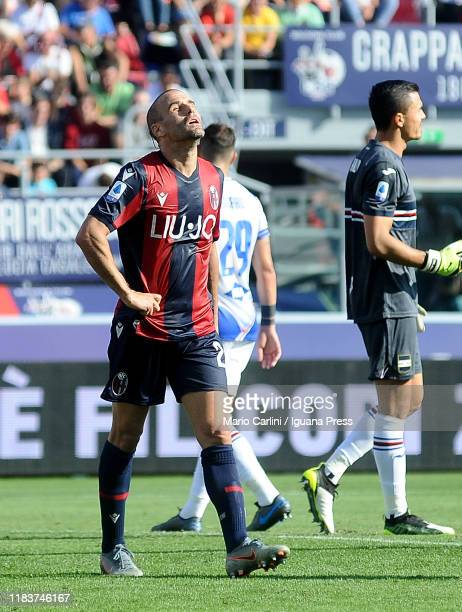 Rodrigo Palacio of Bologna FC reacts during the Serie A match between Bologna FC and UC Sampdoria at Stadio Renato Dall'Ara on October 27 2019 in...