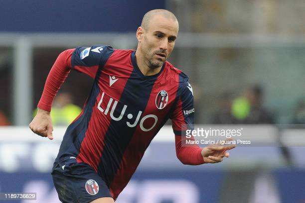 Rodrigo Palacio of Bologna FC reacts during the Serie A match between Bologna FC and Parma Calcio at Stadio Renato Dall'Ara on November 24, 2019 in...