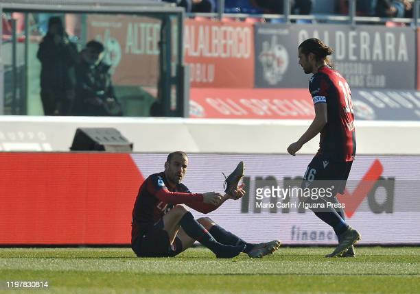 Rodrigo Palacio of Bologna FC reacts during the Serie A match between Bologna FC and ACF Fiorentina at Stadio Renato Dall'Ara on January 06 2020 in...